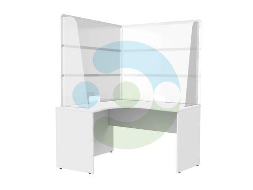 Прозрачный угловой защитный экран на стол